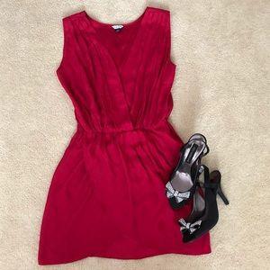 Red silk South Moon Under faux wrap mini dress
